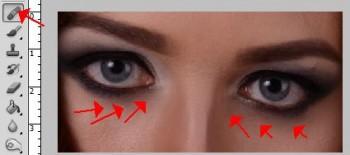 восстанавливающая кисть фотошоп убираем синяки