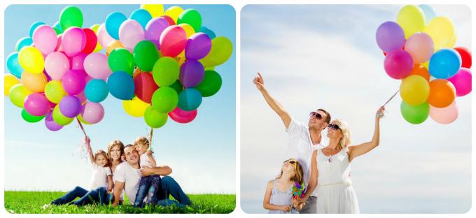 семейная фотосессия с воздушными шарами