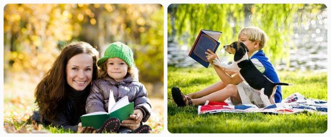 Идеи осенней фотосессии для ребенка с книгой