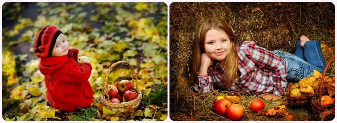детские фотографии с яблоками