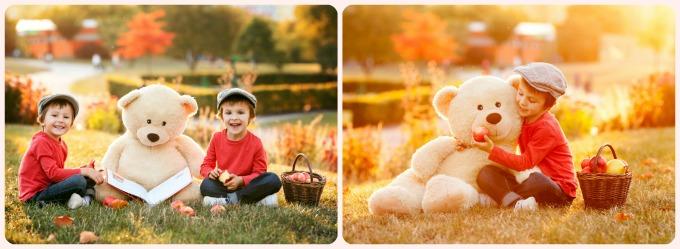 детская фотосессия на улице осенью